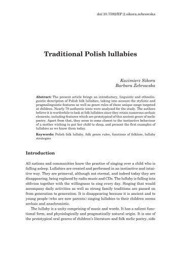 Traditional Polish lullabies