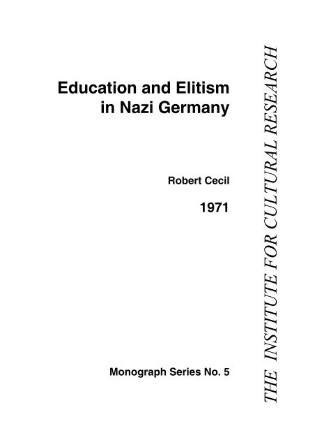 Education and Elitism in Nazi Germany - The Institute For Cultural ...