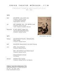 Produktionen und Gastspiele (1970 - 2010) - Neues Theater München