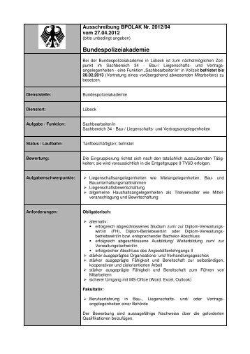 Ausschreibung BPOLAK Nr. 2012/04 vom 27.04.2012 - Bundespolizei