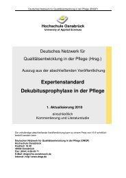 Expertenstandard Dekubitusprophylaxe in der Pflege - vdek