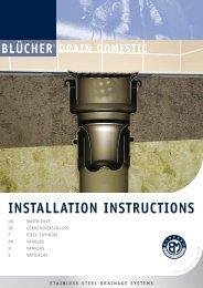 DRAIN DOMESTIC INSTALLATION INSTRUCTIONS - Blücher