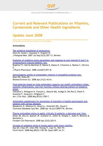 Current and Relevant Publications on Vitamins, Carotenoids ... - I-gap