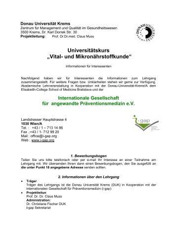 """Universitätskurs """"Vital- und Mikronährstoffkunde"""" - I-gap"""