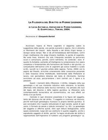 La filosofia del diritto in Pierre Legendre - I-LEX