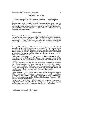 Planetensystem - Goldener Schnitt - Urprinzipien - Wellenastrologie