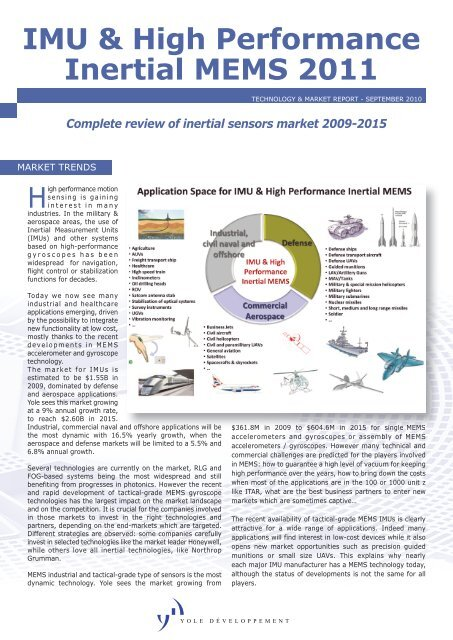 IMU & High Performance Inertial MEMS 2011 - I-Micronews