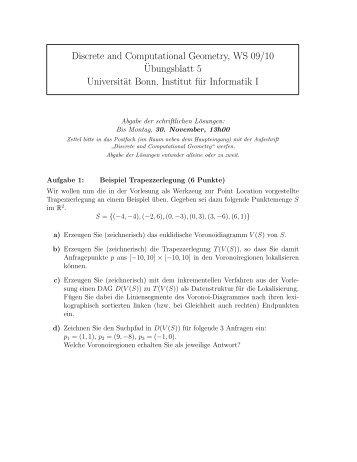 Discrete and Computational Geometry, WS 09/10 ¨Ubungsblatt 5 ...