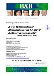 """""""5 vor 12 Steuertipps"""" """"Umsatzsteuer ab 1.1.2010 ... - i2b"""