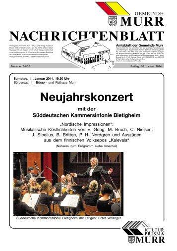 Nachrichtenblatt Nr. 1/2 vom 10. Januar 2014 - Gemeinde Murr