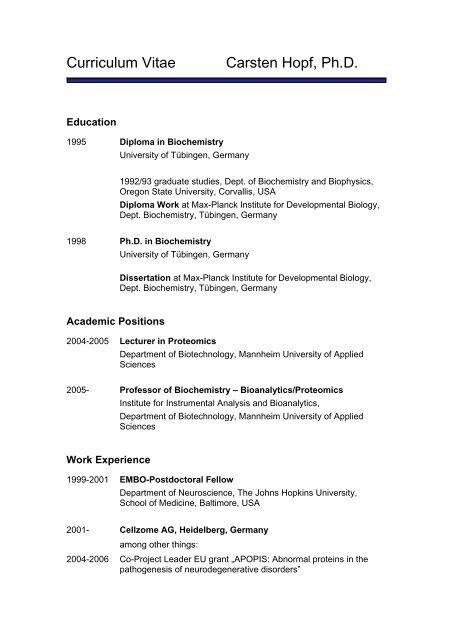 Curriculum Vitae Carsten Hopf Ph D