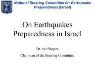 On Earthquakes Preparedness in Israel