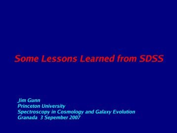 Some Lessons Learned from SDSS