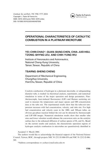 operational characteristics of catalytic combustion in a platinum ...