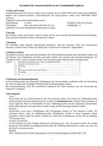 Formblatt zur Anfertigung fachdidaktischer Hausarbeiten
