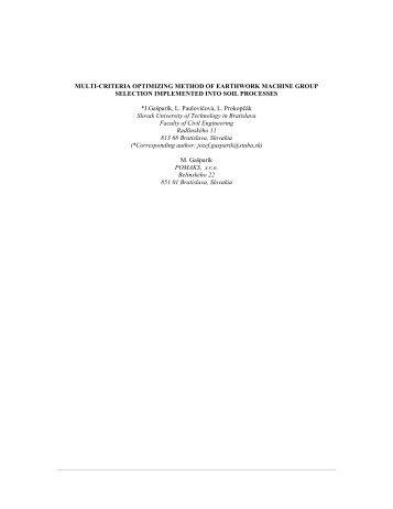MULTI-CRITERIA OPTIMIZING METHOD OF EARTHWORK ... - IAARC
