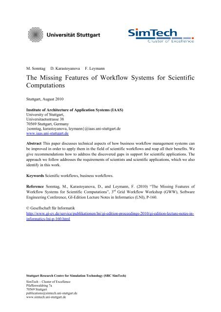 The Missing Features of Workflow Systems for Scientific ... - IAAS