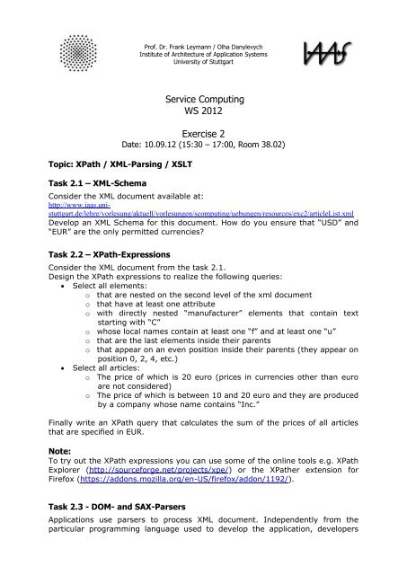 Service Computing WS 2012 Exercise 2 - IAAS