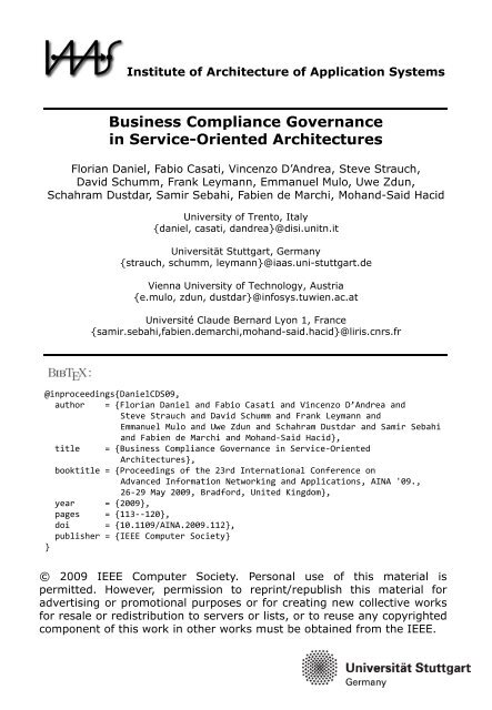 Business Compliance Governance in Service-Oriented Architectures