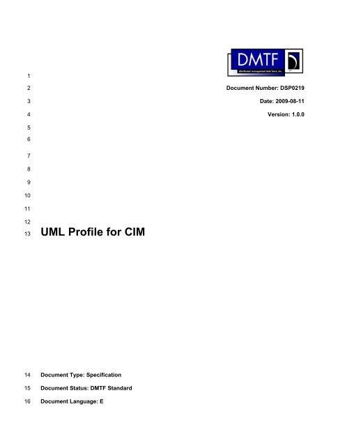 UML Profile for CIM - DMTF