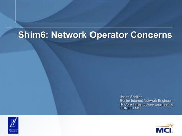 Shim6: Network Operator Concerns