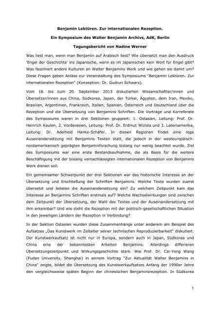 "Symposium ""Benjamin Lektüren"" 2013"