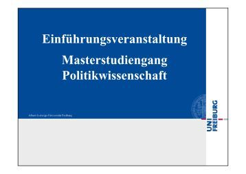 Einführungsveranstaltung Masterstudiengang Politikwissenschaft