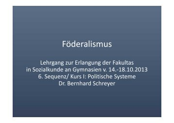 Föderalismus Föderalismus