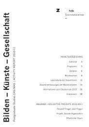 Bilden – K ünste – Gesellschaft - Zürcher Hochschule der Künste