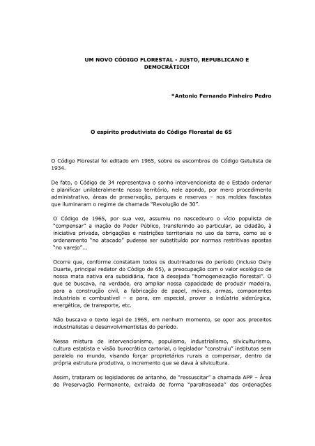UM NOVO CÓDIGO FLORESTAL - JUSTO, REPUBLICANO E ...