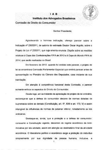 Comissão Permanente de Direito do Consumidor - Instituto dos ...