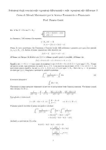 Soluzioni degli esercizi sulle equazioni differenziali e sulle ...