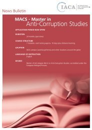 IACA News Bulletin - International Anti Corruption Academy Website
