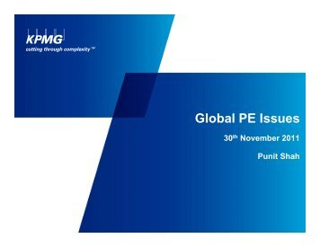 KPMG on Global PE Issues