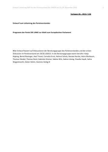 Zum aktuellen Programmentwurf... - Die Linke NRW