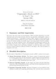 """Cryptanalytic Attacks on RSA"""" by Song Y. Yan Springer 2008 1 ..."""