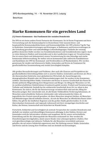 """Beschluss """"Starke Kommunen für ein gerechtes Land"""" - SPD"""