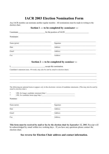 IACR 2003 Election Nomination Form