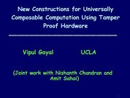 New Constructions for Universally Composable Computation Using ...