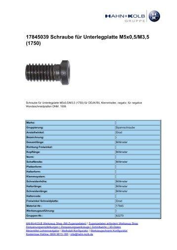 17845039 Schraube für Unterlegplatte M5x0,5/M3,5 - Hahn +Kolb ...