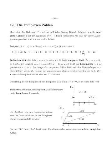 12 Die komplexen Zahlen