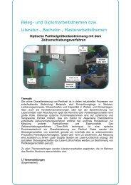 Optische Partikelgrößenbestimmung mit dem ...