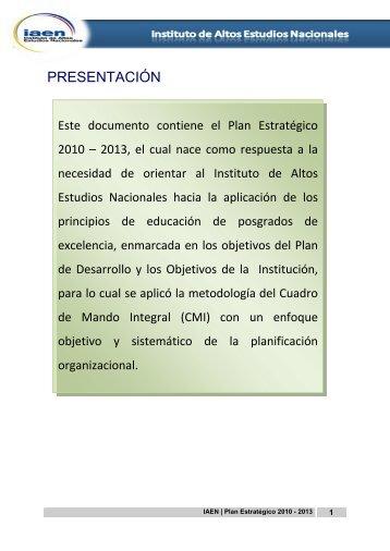 plan estrategico 2010-2013-actualizado en mayo 2011 - El IAEN y