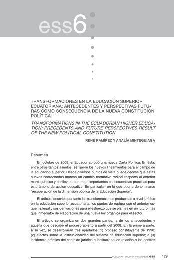 A, Minteguiaga (2010) Transformaciones en la educación - IAEN