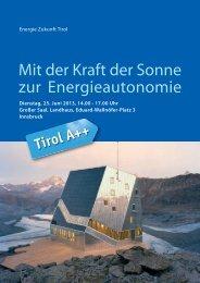 Mit der Kraft der Sonne zur Energie autonomie - Energie Tirol