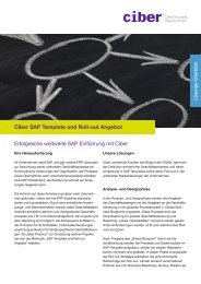 Unser SAP Template und Roll-out Angebot Laden Sie sich ... - Ciber