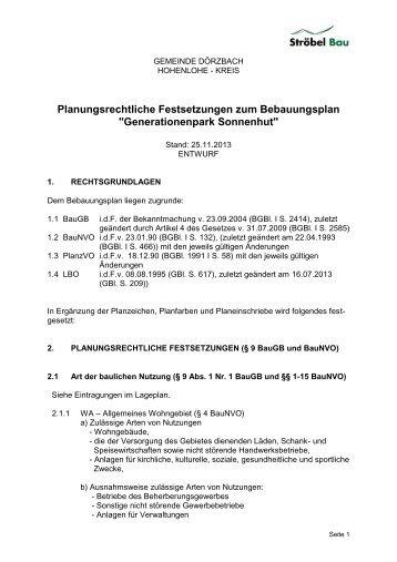 Planungsrechtliche Festsetzungen zum Bebauungsplan - Gemeinde ...