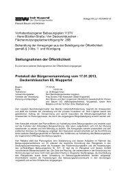 Bebauungsplan 1137V - Protokoll der ... - Stadt Wuppertal