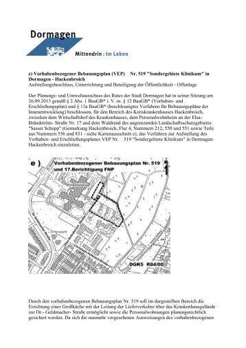 e) Vorhabenbezogener Bebauungsplan (VEP) Nr ... - Stadt Dormagen