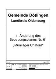 1. Änderung Bebauungsplan Nr. 61 - Gemeinde Dötlingen